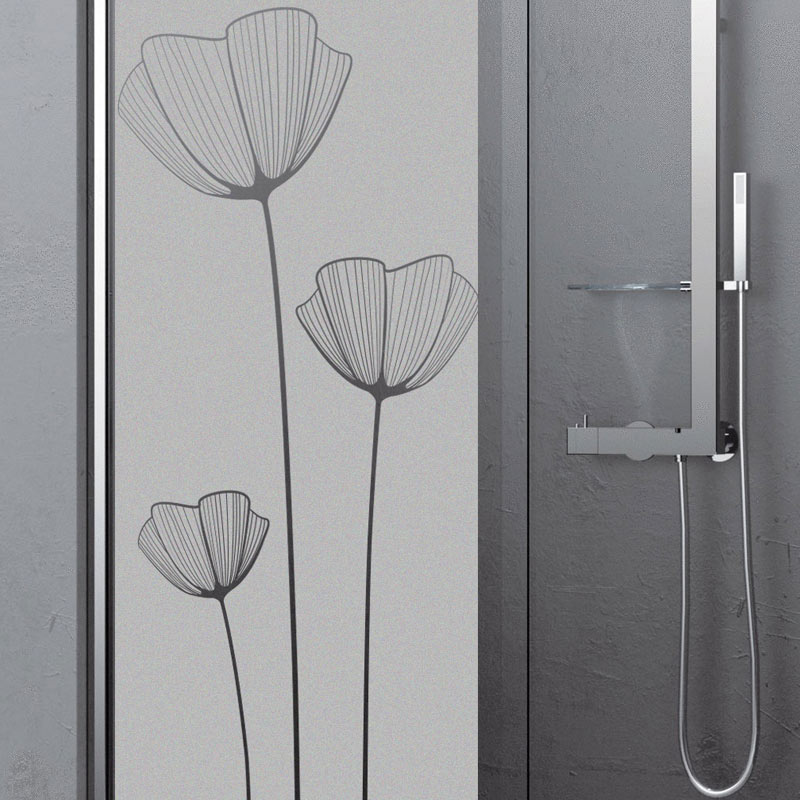 Sticker porte de douche fleurs de pavot stickers nature for Stickers porte de douche