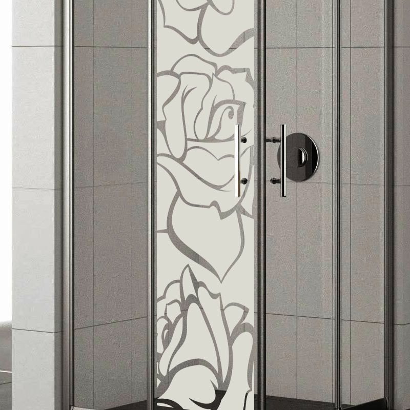 sticker porte de douche roses stickers nature fleurs ambiance sticker. Black Bedroom Furniture Sets. Home Design Ideas
