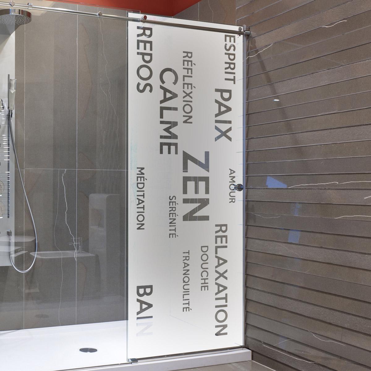 sticker porte de douche zen amour bain stickers salle de bain porte de douche. Black Bedroom Furniture Sets. Home Design Ideas