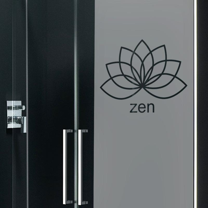 Sticker porte de douche zen fleur de lotus stickers for Porte de champerret salon zen