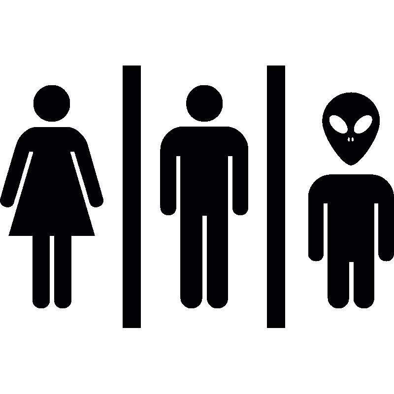 Sticker porte femme homme et extraterrestre stickers for Stickers wc porte
