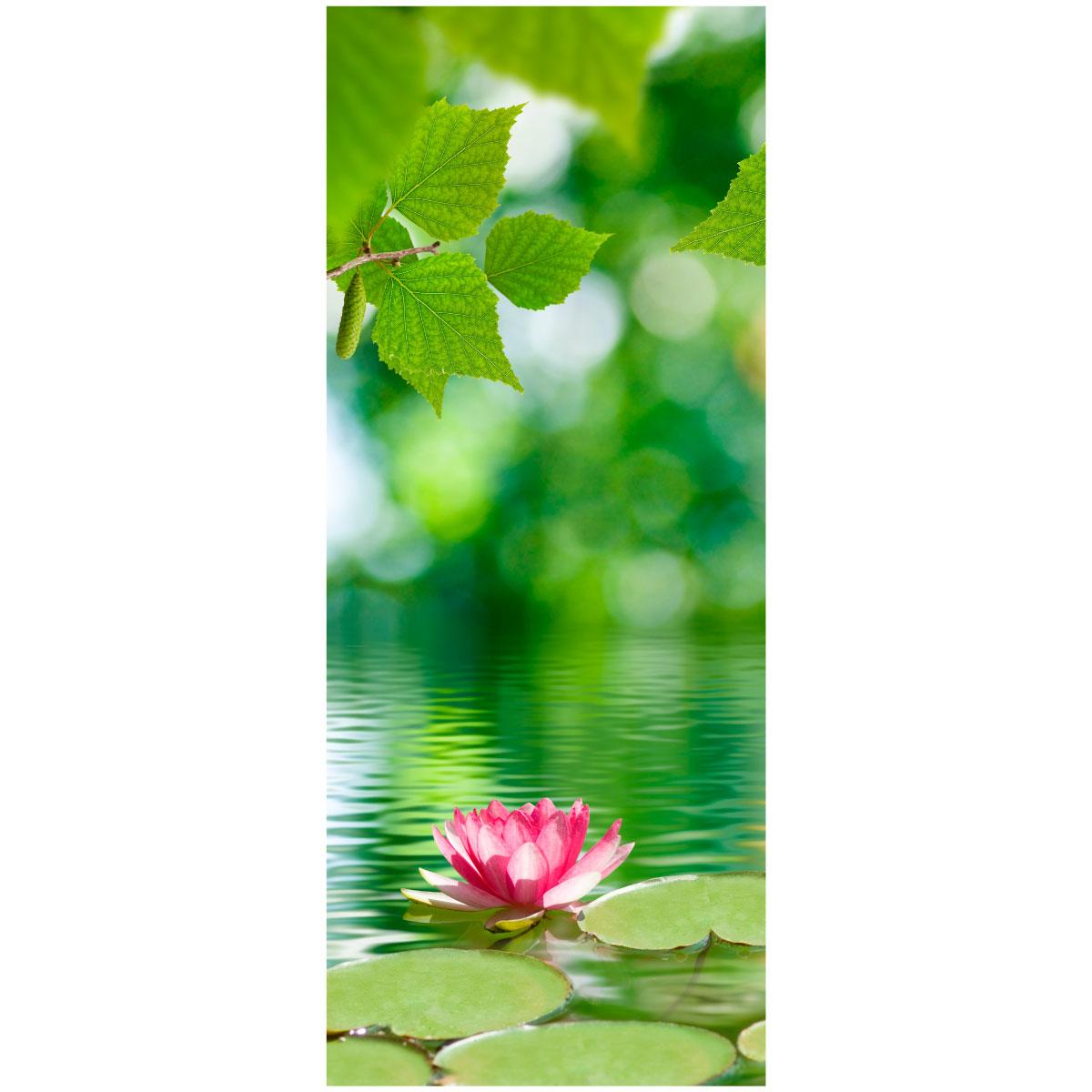 sticker porte fleur de lotus stickers nature fleurs ambiance sticker. Black Bedroom Furniture Sets. Home Design Ideas