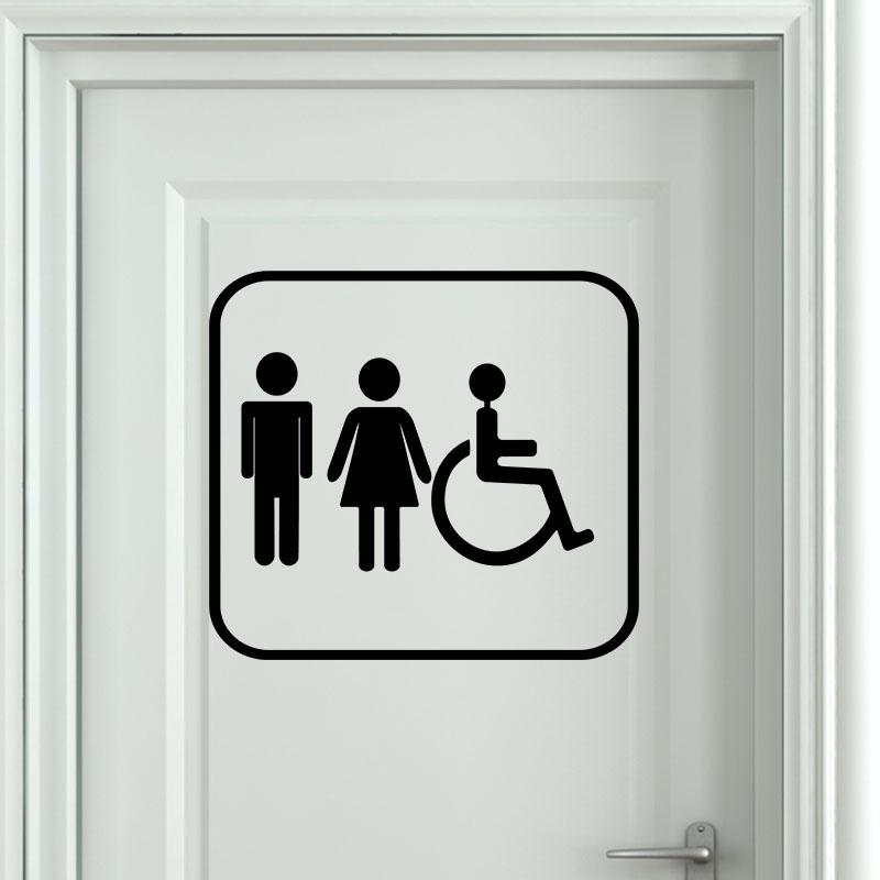 Sticker porte homme femme handicap stickers salle de for Porte wc handicape