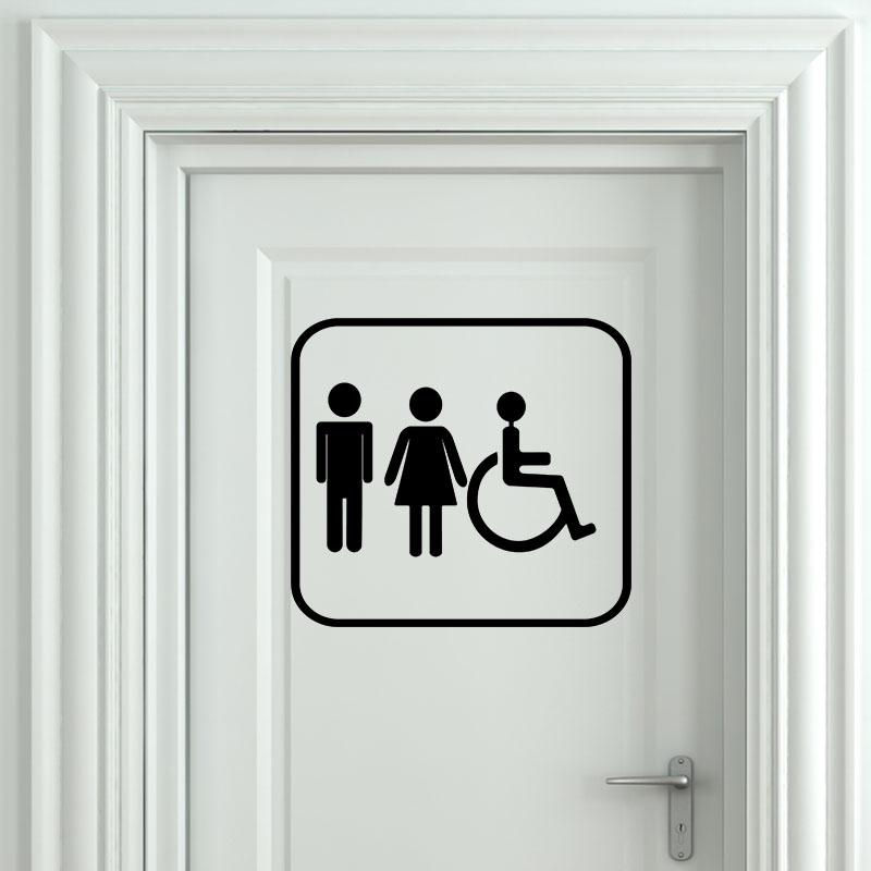 sticker porte homme femme handicap stickers salle de bain et wc toilettes ambiance sticker. Black Bedroom Furniture Sets. Home Design Ideas