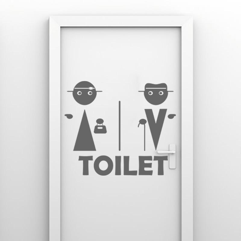 Sticker porte indication toilette homme et femme - Stickers porte wc ...