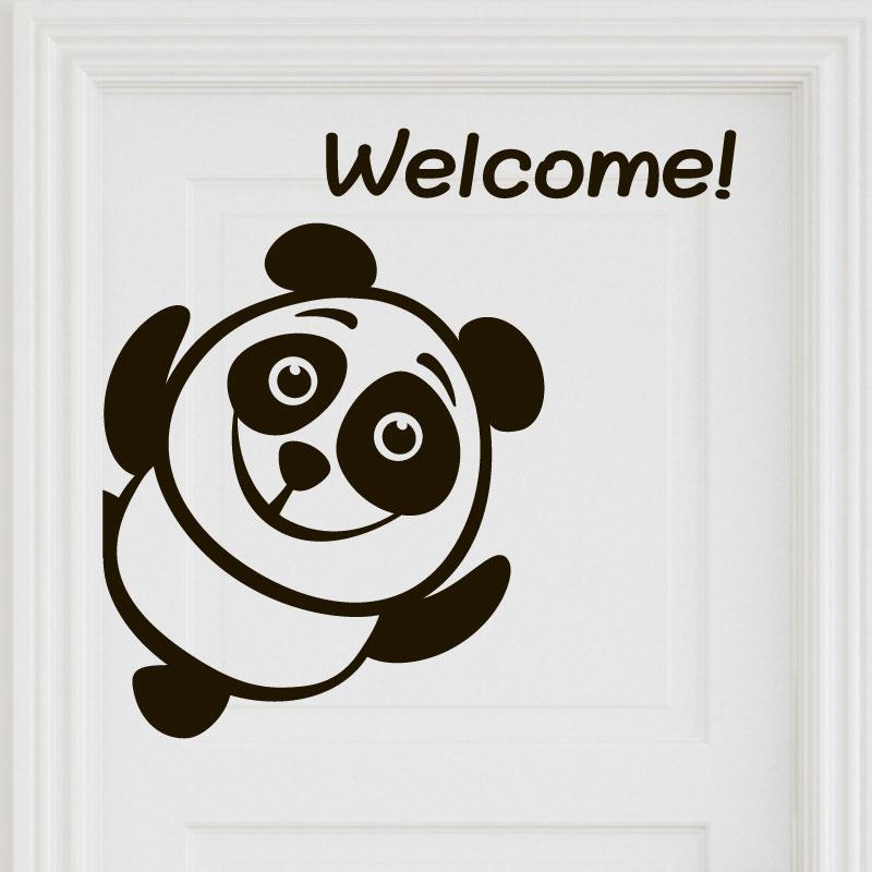Sticker muraux pour portes sticker porte panda bienvenue for Pancarte bienvenue pour porte