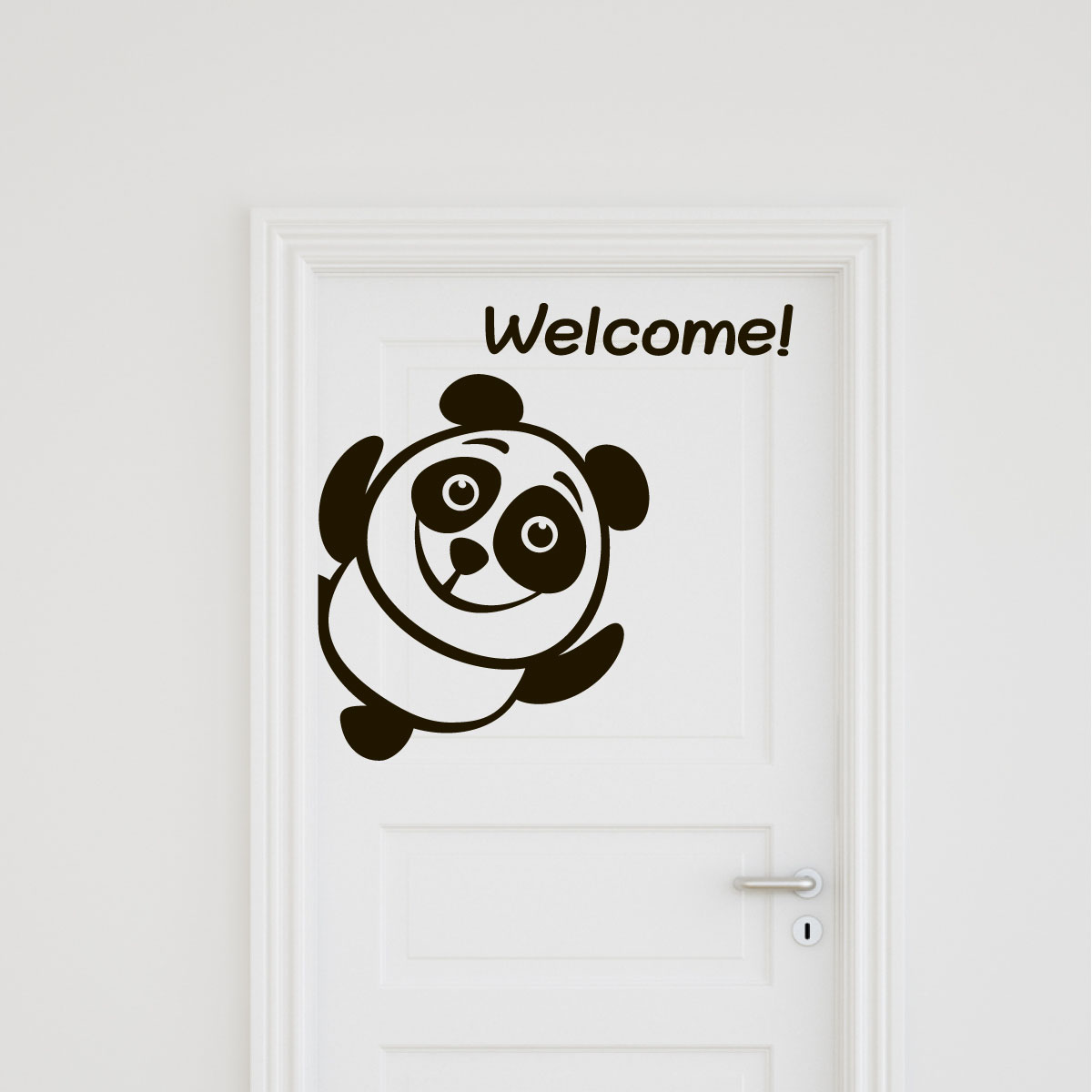 sticker muraux pour portes sticker porte panda bienvenue ambiance. Black Bedroom Furniture Sets. Home Design Ideas