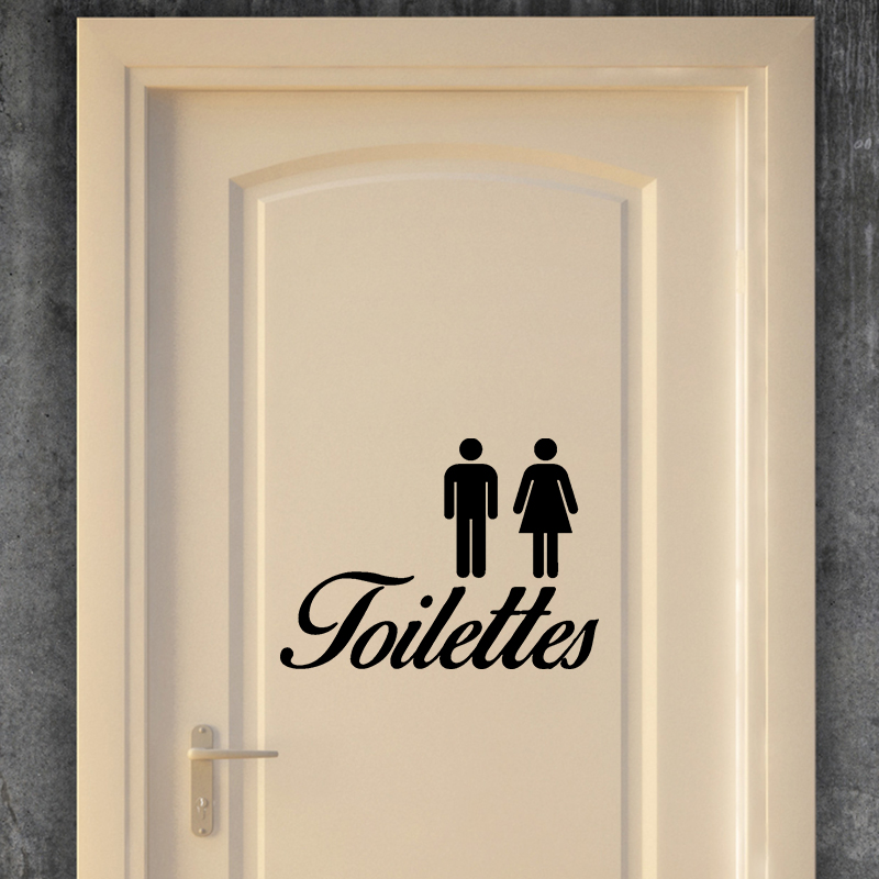 Sticker porte panneau toilettes stickers salle de bain for Stickers wc porte