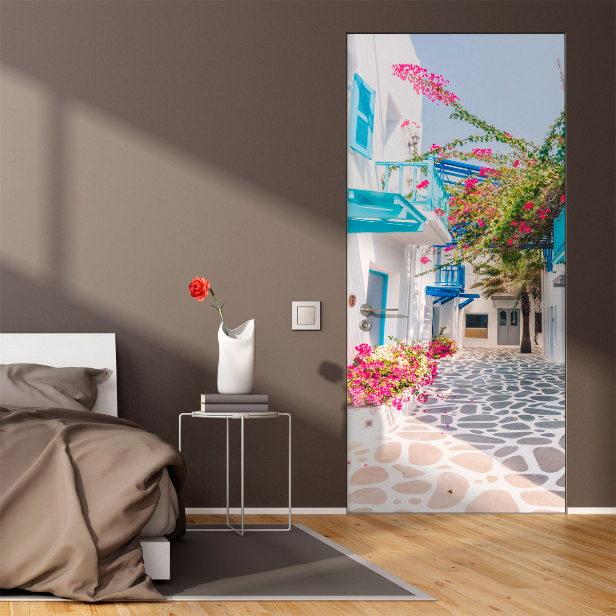 sticker porte ruelle de santorini gr ce stickers nature arbres ambiance sticker. Black Bedroom Furniture Sets. Home Design Ideas