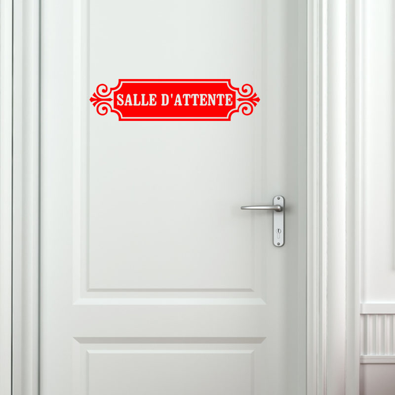 sticker porte salle d 39 attente stickers professionnels stickers signal tique ambiance sticker. Black Bedroom Furniture Sets. Home Design Ideas
