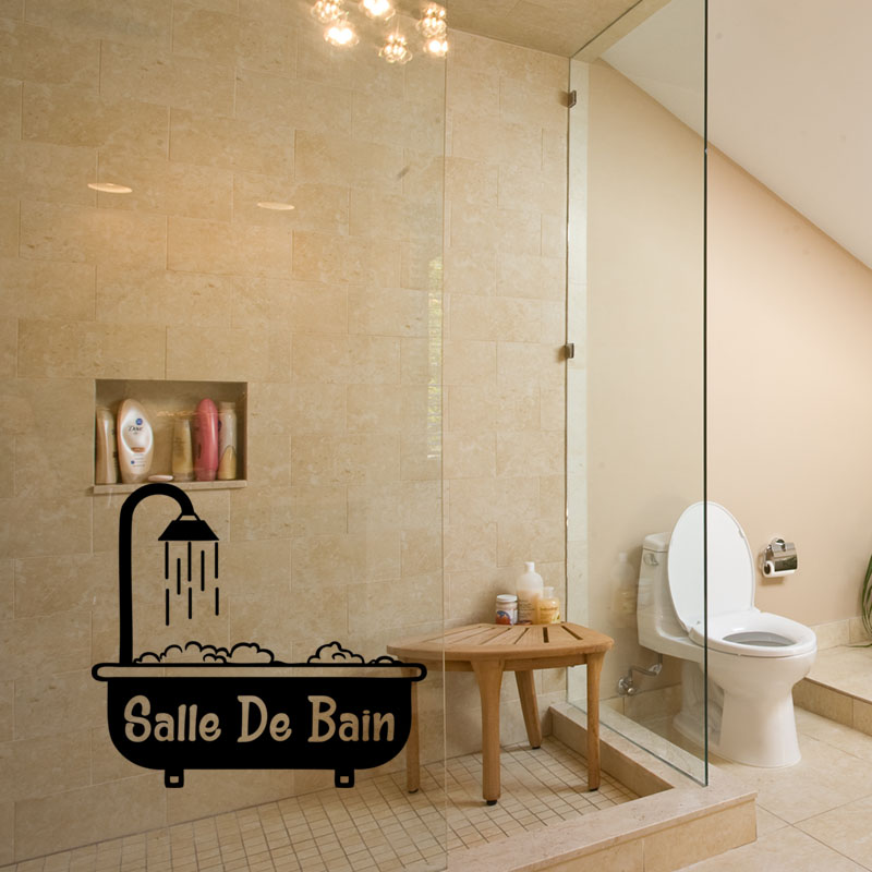 sticker porte salle de bain baignoire avec mousse. Black Bedroom Furniture Sets. Home Design Ideas