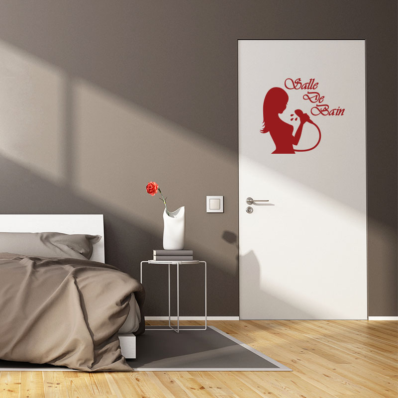 sticker porte salle de bain f minine ii stickers portes. Black Bedroom Furniture Sets. Home Design Ideas