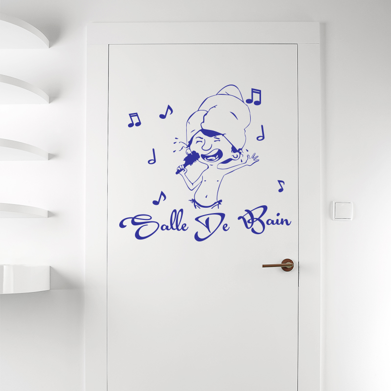sticker porte salle de bain musicale stickers portes salle de bain ambiance sticker. Black Bedroom Furniture Sets. Home Design Ideas