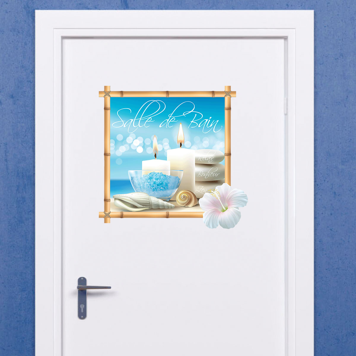 Sticker porte salle de bain plage zen stickers nature for Stickers porte meuble salle de bain