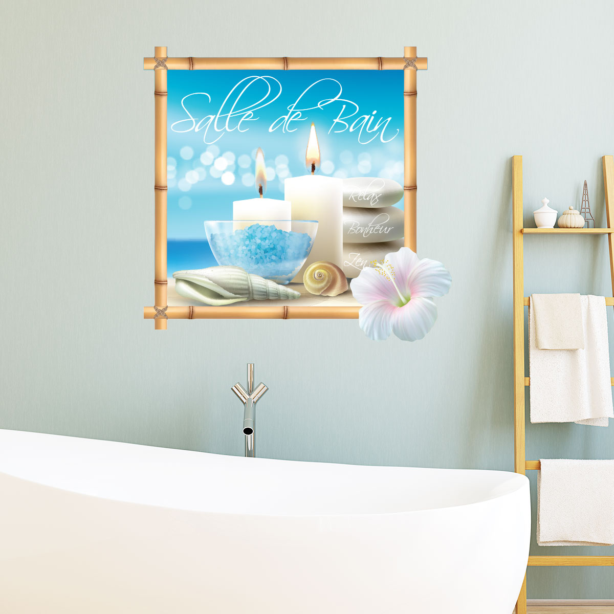 Sticker porte salle de bain plage zen stickers nature for Sticker porte plage