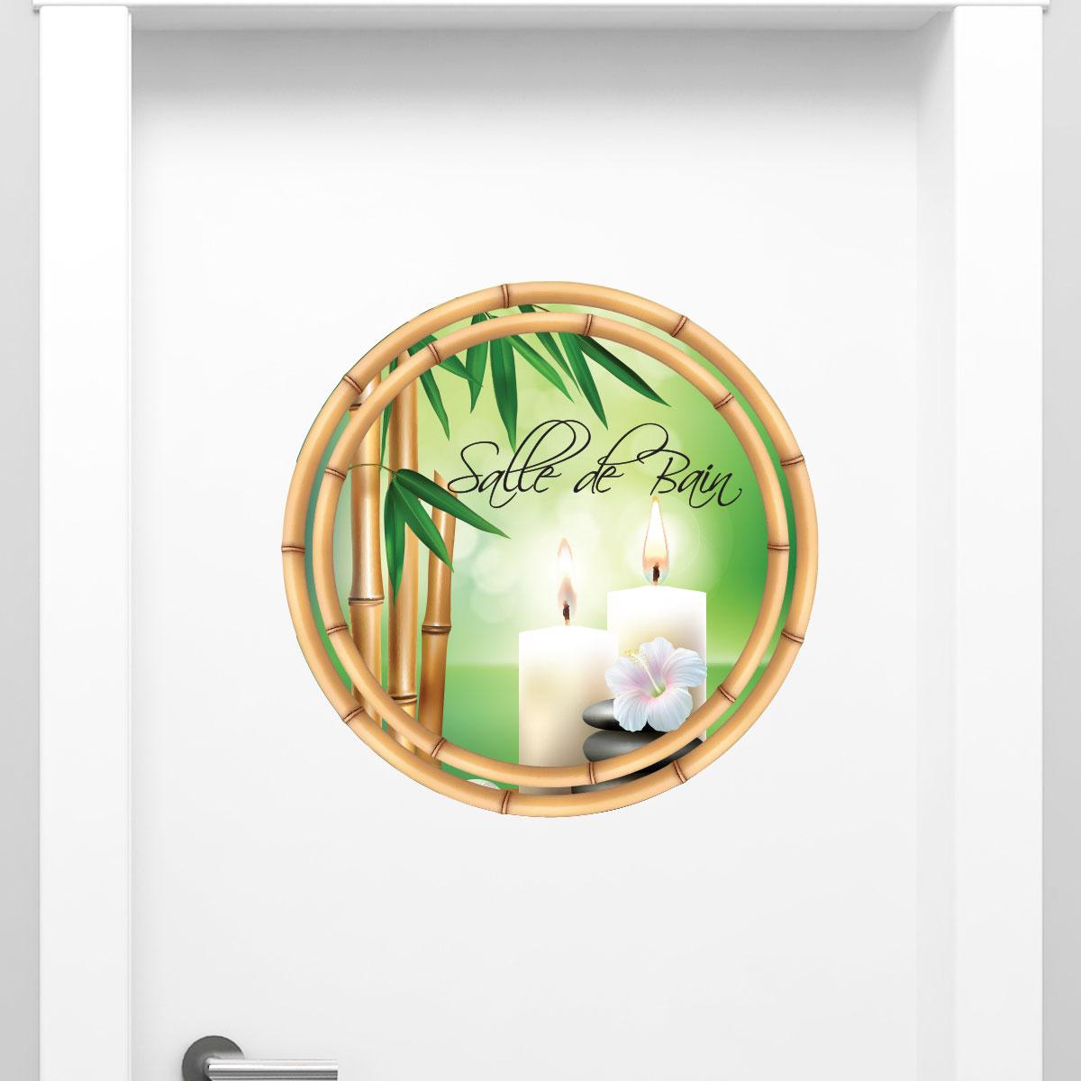 sticker porte salle de bain zen bamboo stickers nature bambous ambiance sticker. Black Bedroom Furniture Sets. Home Design Ideas