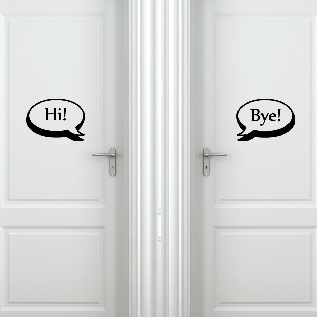 sticker muraux pour portes sticker porte salut au revoir ambiance. Black Bedroom Furniture Sets. Home Design Ideas