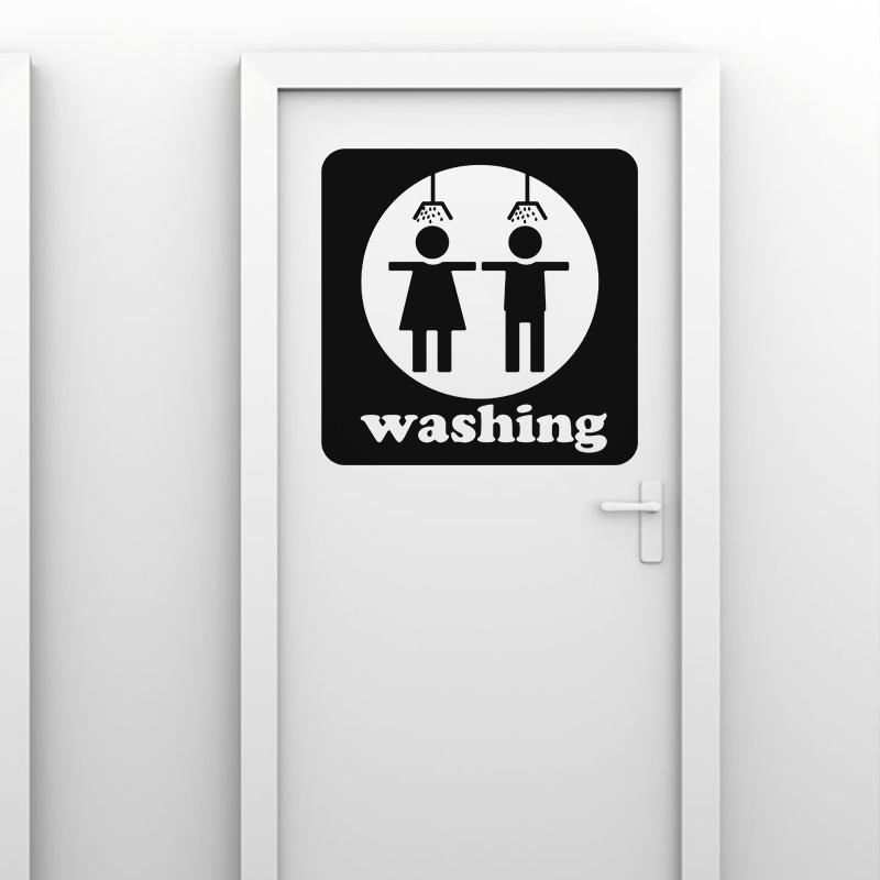 Sticker porte silhouette personne sous la douche for Stickers porte de douche