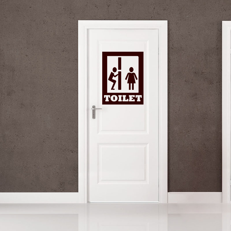 Sticker porte silhouette toilet stickers salle de bain for Stickers pour porte toilettes