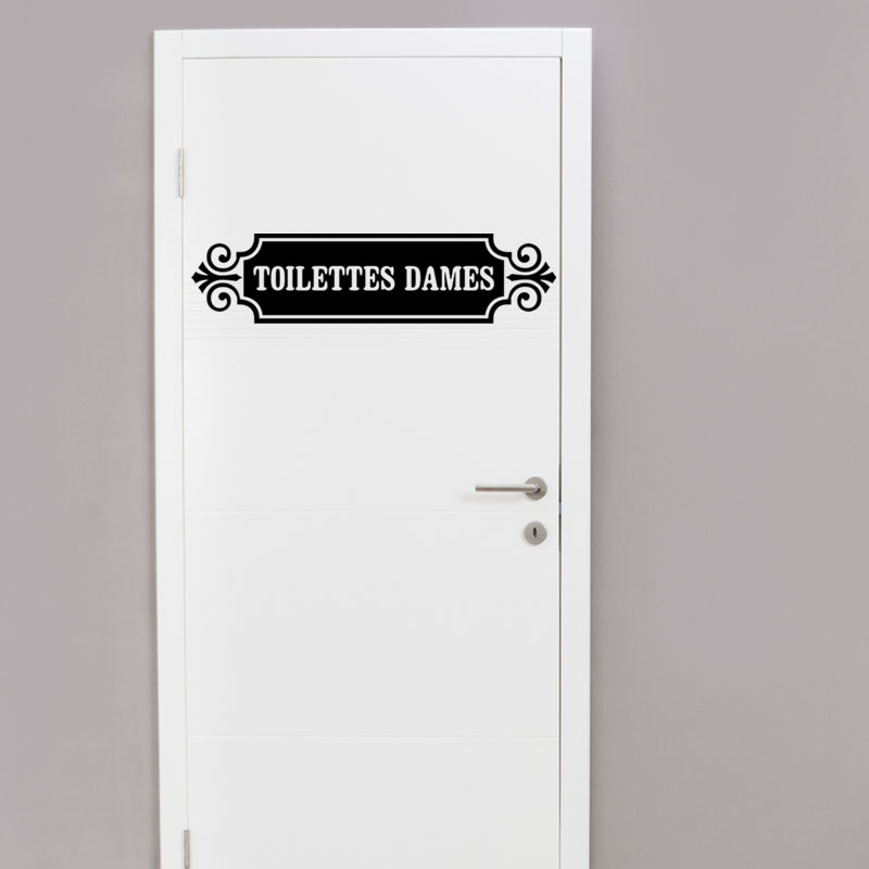 Sticker porte toilette citation toilettes dames stickers for Porte toilette