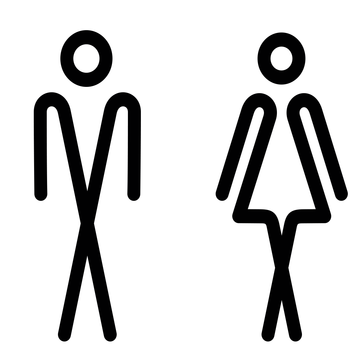 Sticker porte toilettes homme et femme stickers for Autocollant porte wc