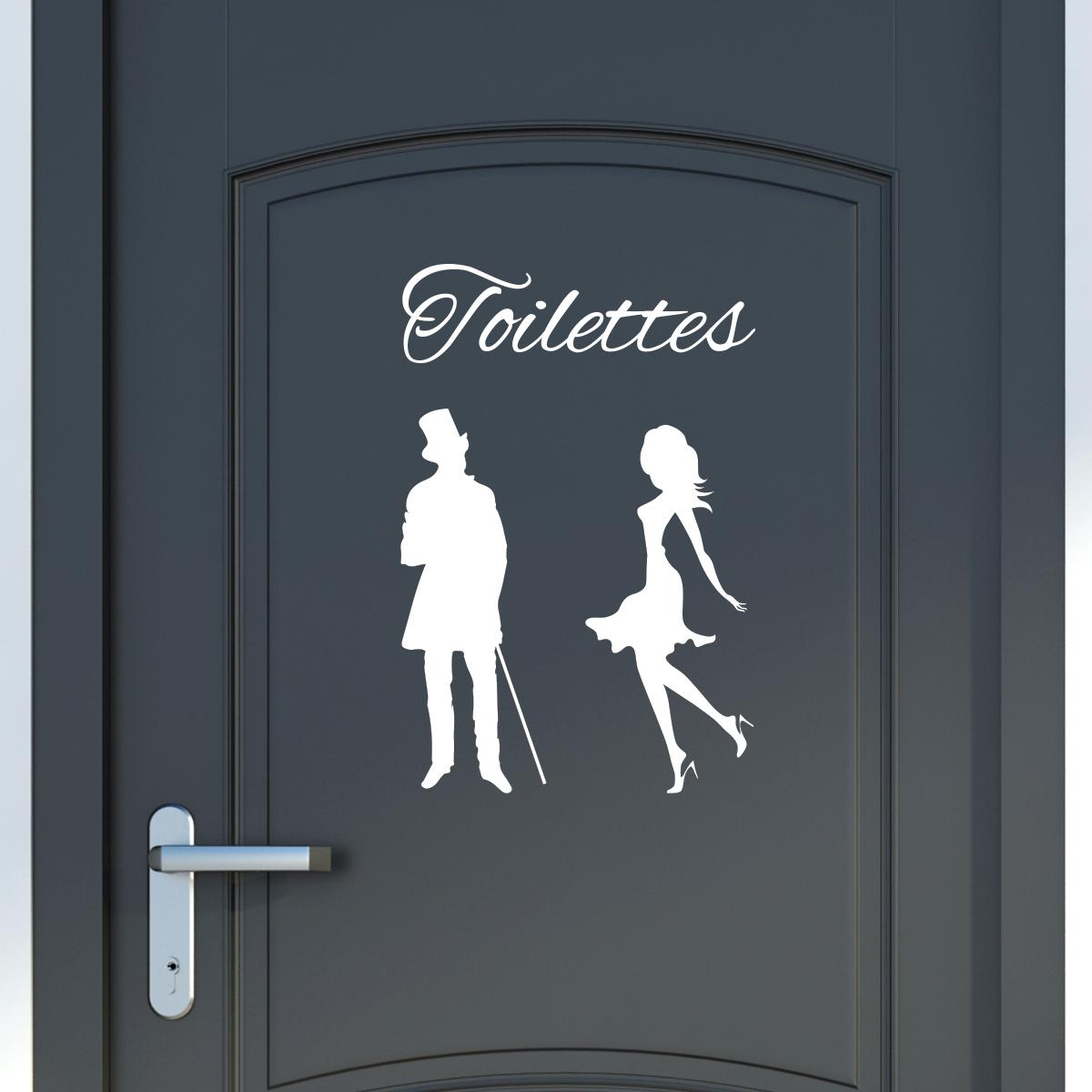Sticker porte toilettes silhouettes homme et femme stickers toilettes porte ambiance sticker - Stickers porte wc ...