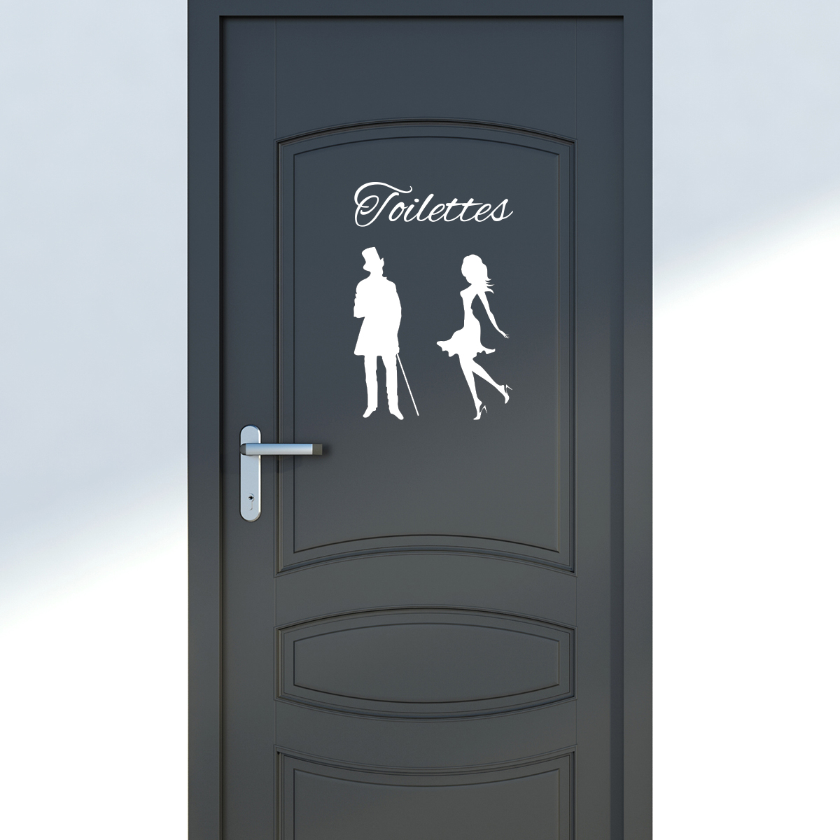 sticker porte toilettes silhouettes homme et femme. Black Bedroom Furniture Sets. Home Design Ideas