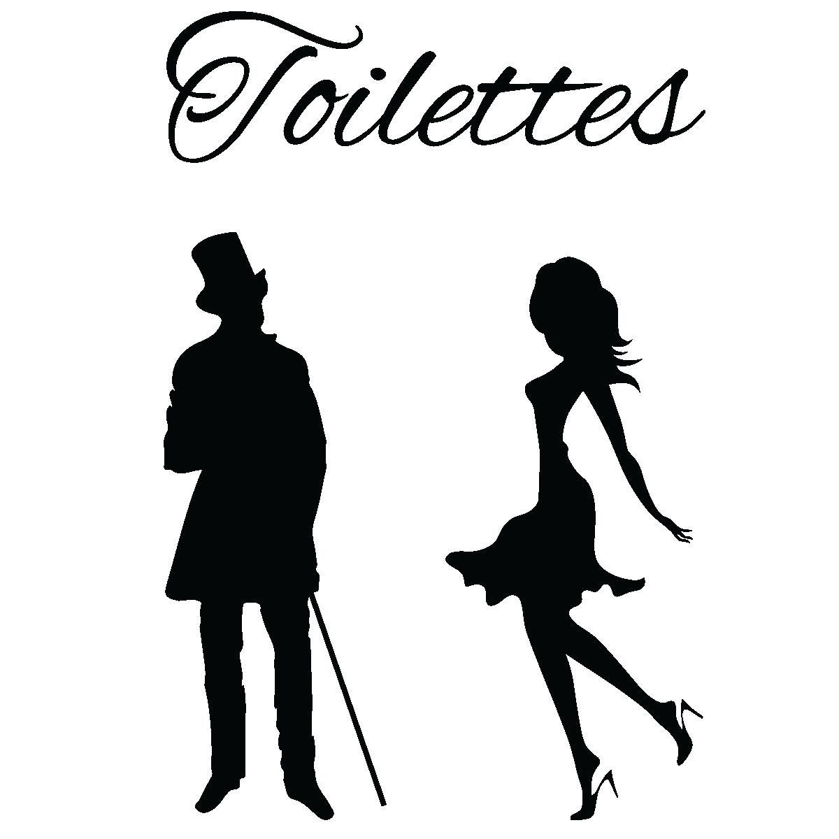 sticker porte toilettes silhouettes homme et femme stickers toilettes porte ambiance sticker. Black Bedroom Furniture Sets. Home Design Ideas
