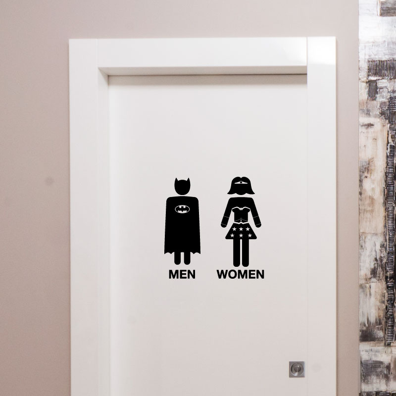 Sticker porte toilettes super h ro men super women for Stickers pour porte de chambre