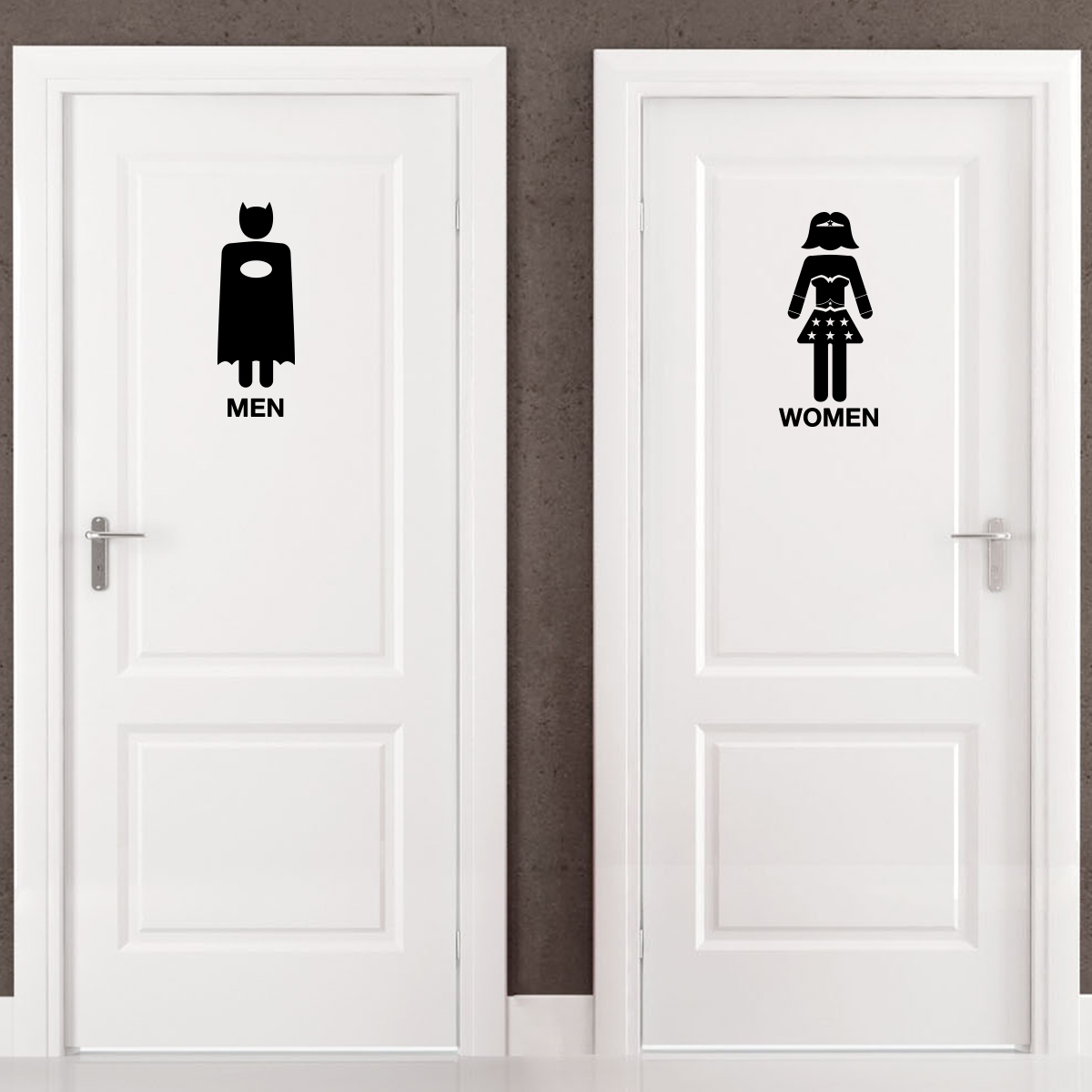 sticker porte toilettes super h ros stickers toilettes. Black Bedroom Furniture Sets. Home Design Ideas