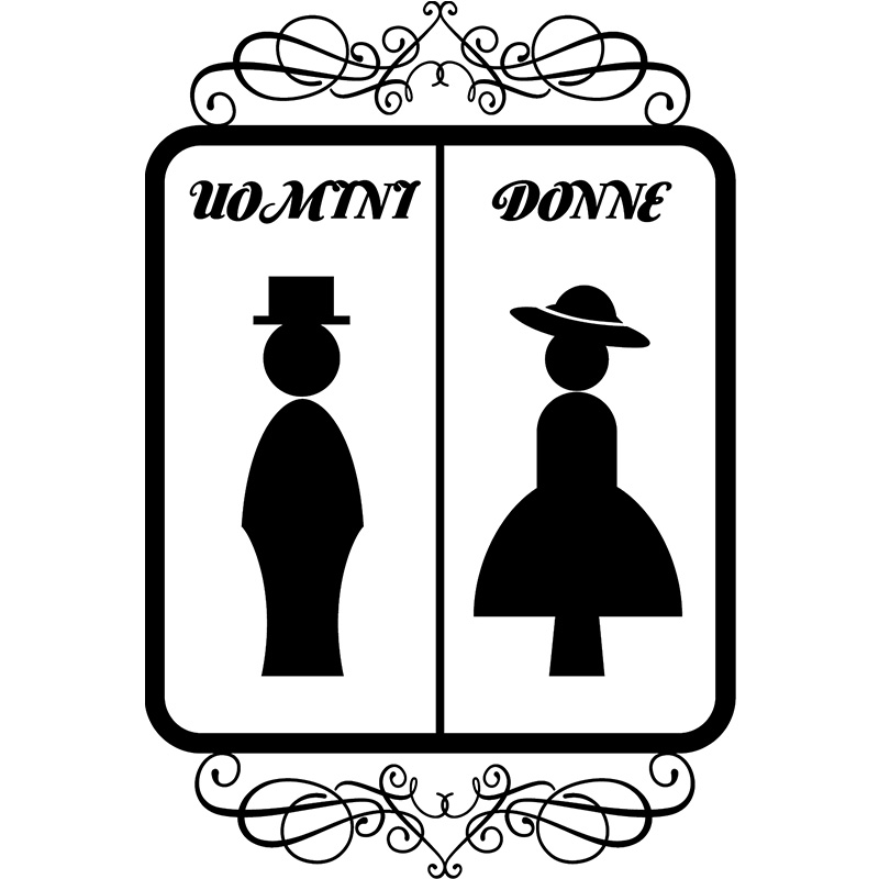 Sticker porte uomini donne stickers toilettes porte for Stickers pour porte toilettes
