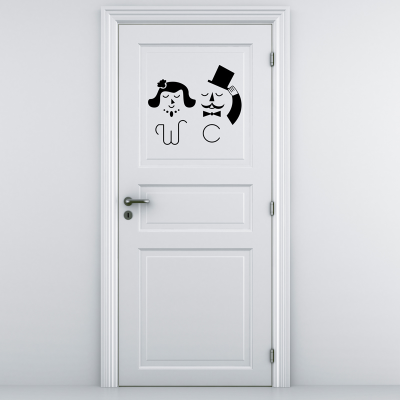 Sticker porte wc femme homme dr le stickers toilettes for Stickers pour porte toilettes