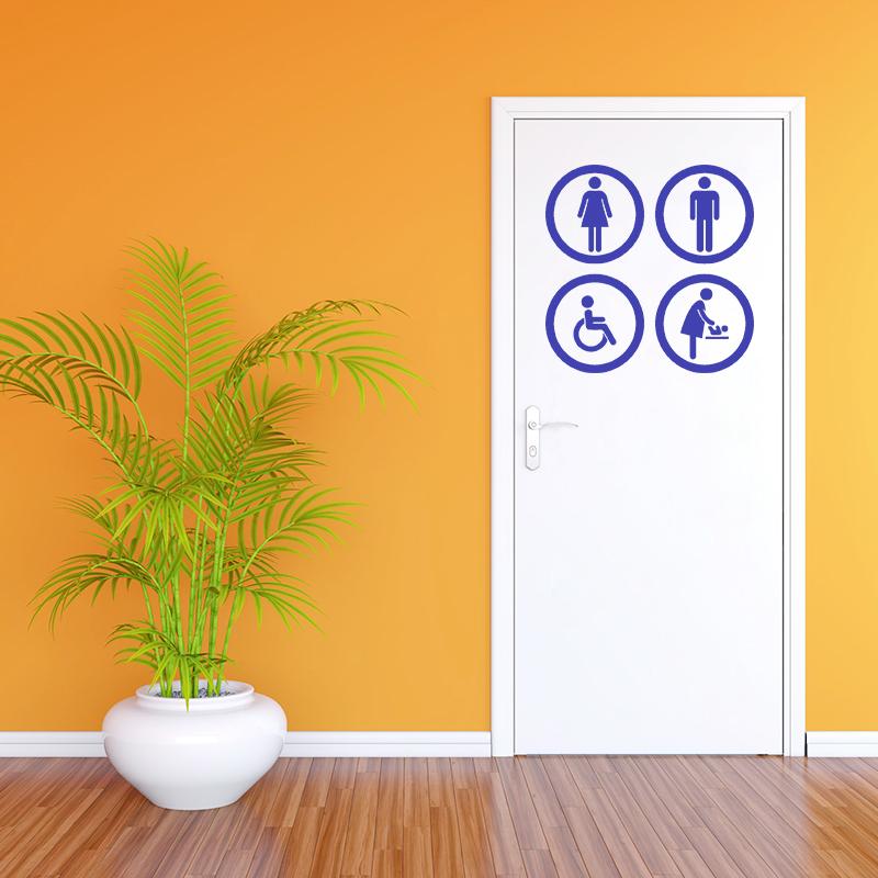sticker porte wc homme femme handicap b b stickers salle de bain et wc toilettes. Black Bedroom Furniture Sets. Home Design Ideas