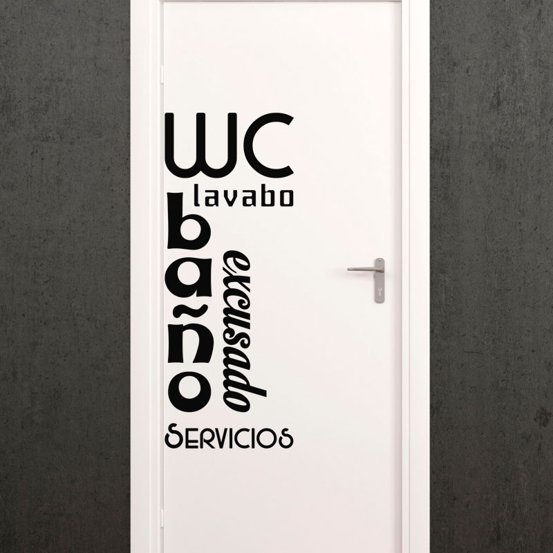 Sticker porte wc lavabo bano excusado servicios for Stickers wc porte
