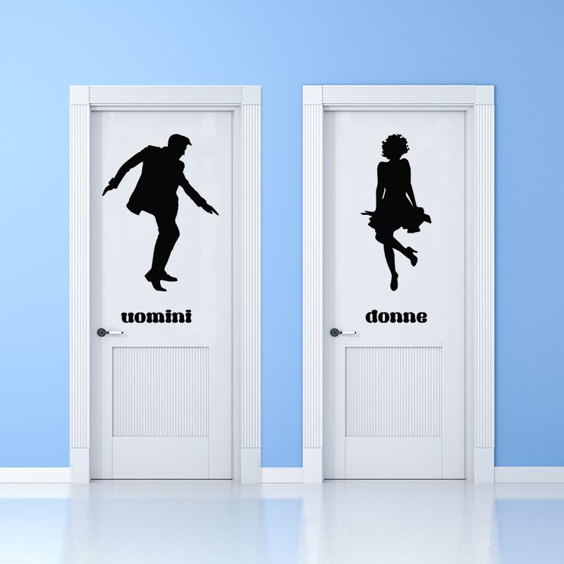 sticker porte wc uomini donne en dansant stickers toilettes porte ambiance sticker. Black Bedroom Furniture Sets. Home Design Ideas
