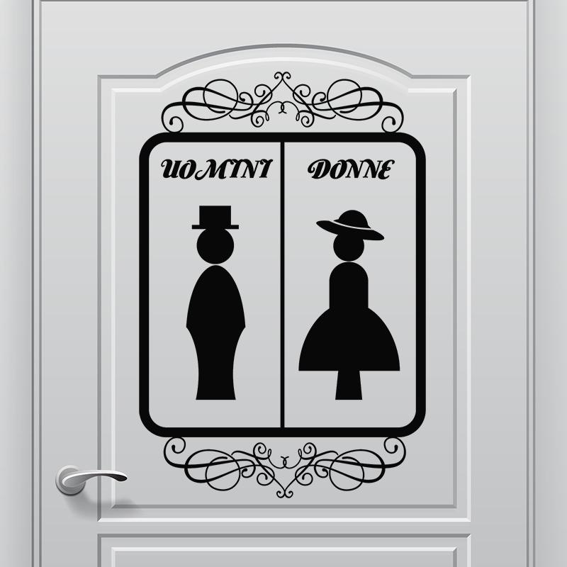 Sticker porte wc uomini donne orn stickers toilettes porte ambiance sticker - Stickers porte wc ...