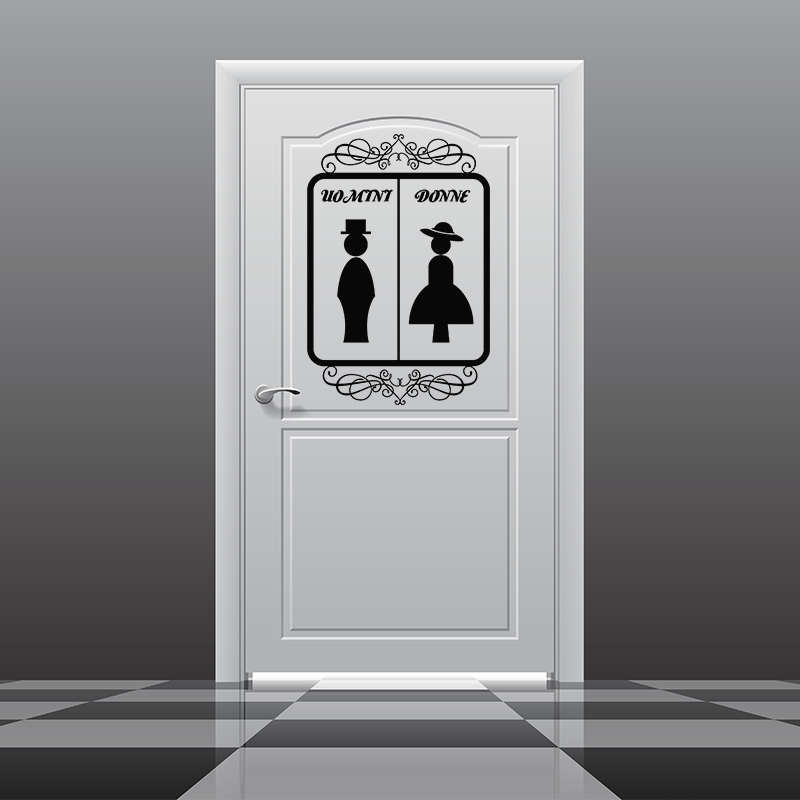 Sticker porte wc uomini donne orn stickers toilettes for Stickers pour porte toilettes