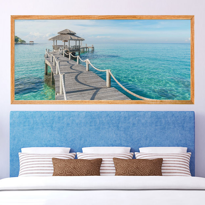 sticker poster chalet au bord de la mer stickers villes et voyages pays et voyages ambiance. Black Bedroom Furniture Sets. Home Design Ideas