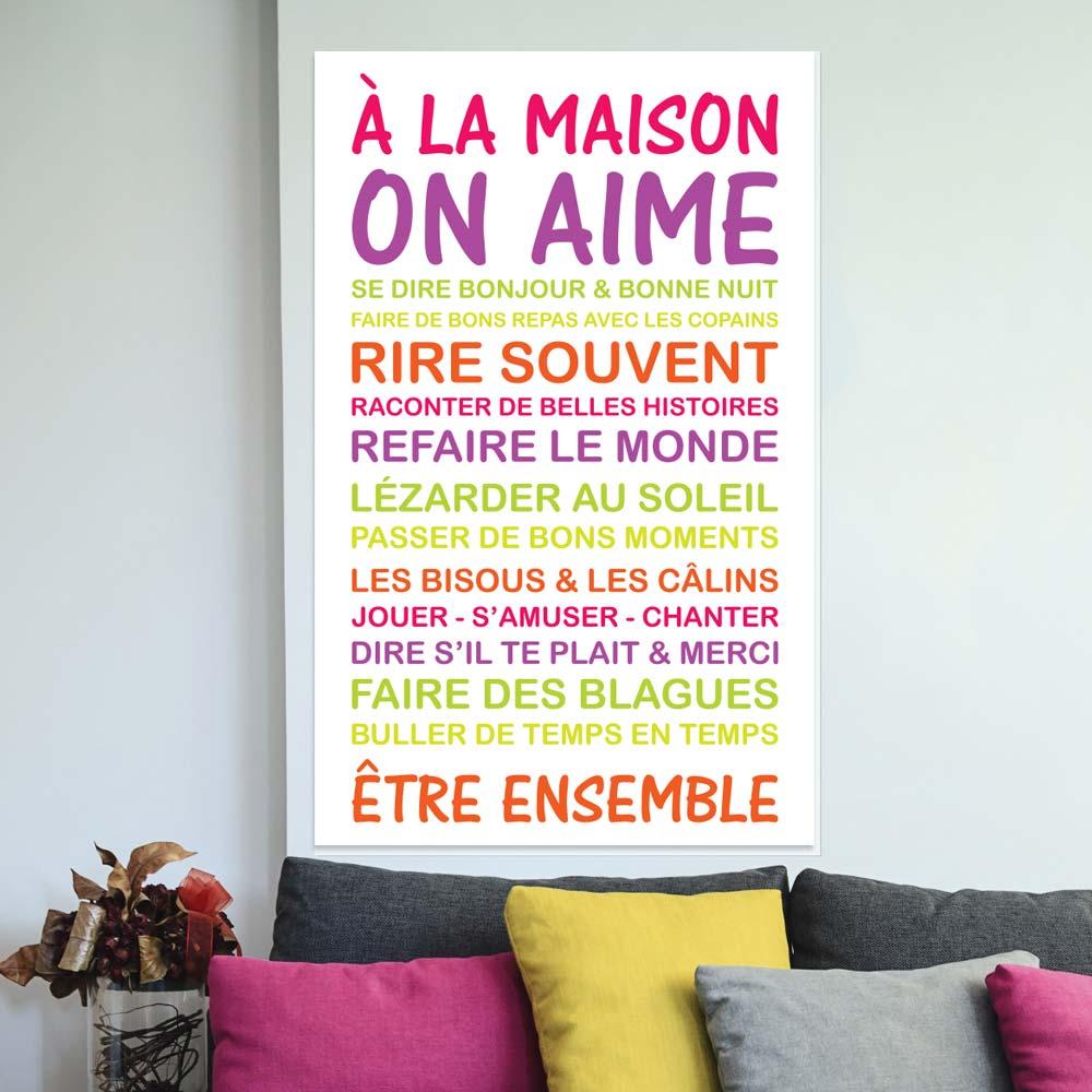 sticker poster citation a la maison on aime stickers citations fran ais ambiance sticker. Black Bedroom Furniture Sets. Home Design Ideas