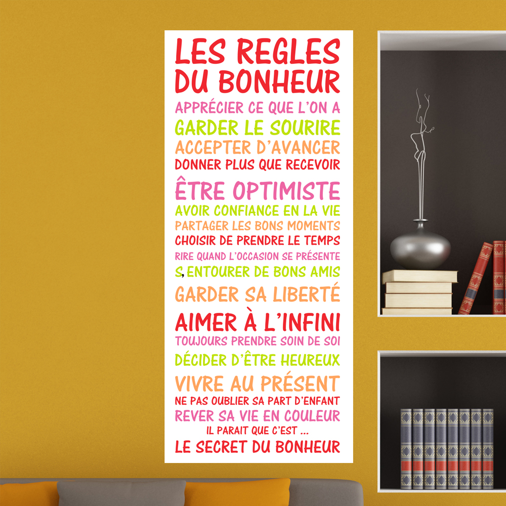 sticker poster citation les r gles du bonheur stickers citations fran ais ambiance sticker. Black Bedroom Furniture Sets. Home Design Ideas
