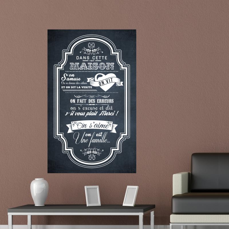 sticker poster dans cette maison 2 style ardoise stickers citations fran ais ambiance sticker. Black Bedroom Furniture Sets. Home Design Ideas
