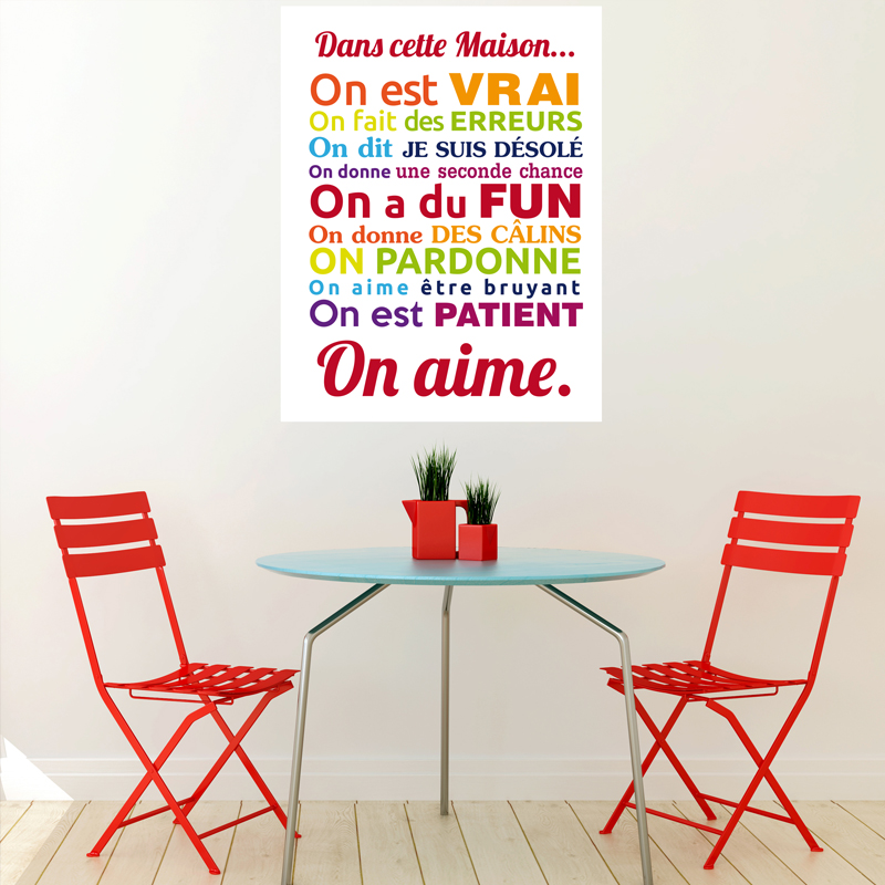 sticker poster dans cette maison multicolore stickers. Black Bedroom Furniture Sets. Home Design Ideas