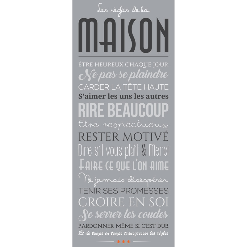 Sticker poster design les r gles de la maison stickers citations fran ais ambiance sticker - Poster les regles de la maison ...