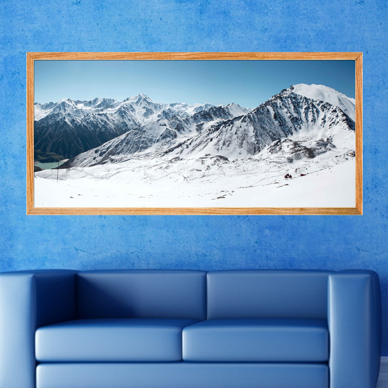 sticker poster hiver sur la montagne stickers villes et voyages pays et voyages ambiance sticker. Black Bedroom Furniture Sets. Home Design Ideas