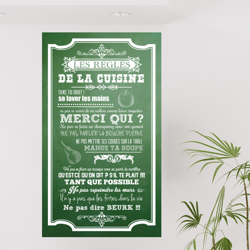 sticker poster les r gles de la cuisine style ardoise stickers citations fran ais ambiance. Black Bedroom Furniture Sets. Home Design Ideas