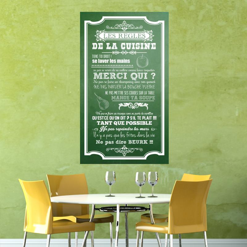 Sticker poster les règles de la cuisine style ardoise - stickers ...