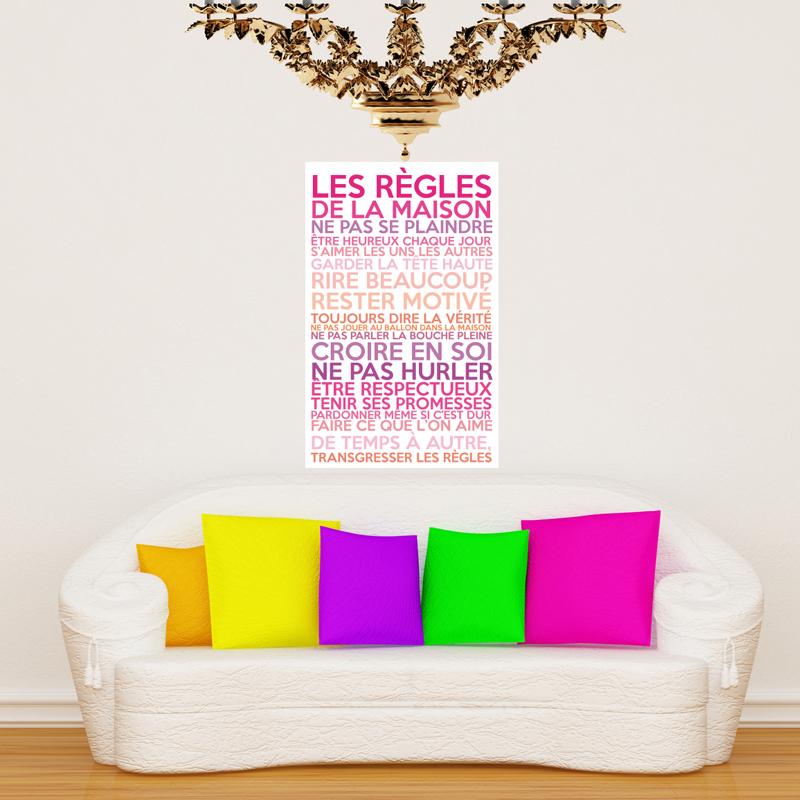 sticker poster les r gles de la maison couleurs girly stickers citations fran ais ambiance. Black Bedroom Furniture Sets. Home Design Ideas
