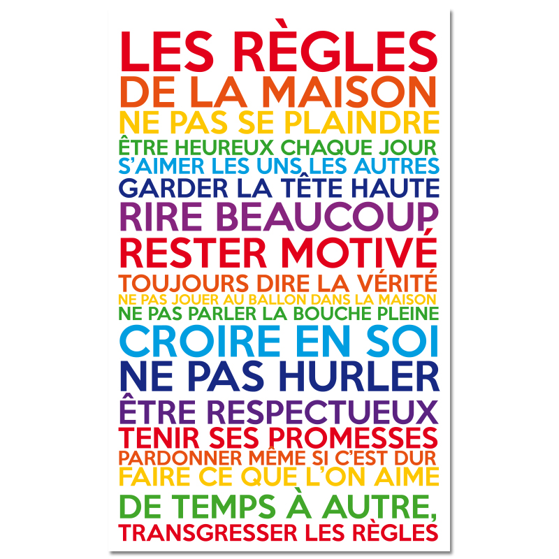 sticker poster les r gles de la maison multicolore stickers citations fran ais ambiance sticker. Black Bedroom Furniture Sets. Home Design Ideas