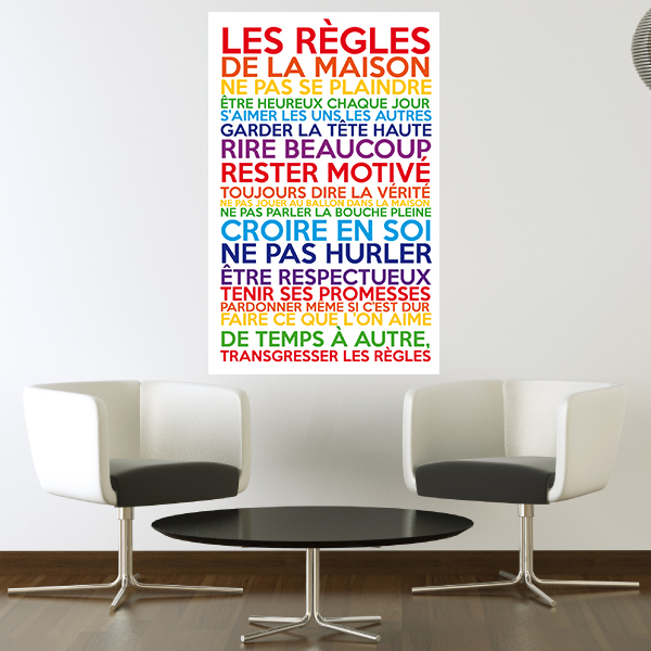 sticker poster les r gles de la maison multicolore. Black Bedroom Furniture Sets. Home Design Ideas