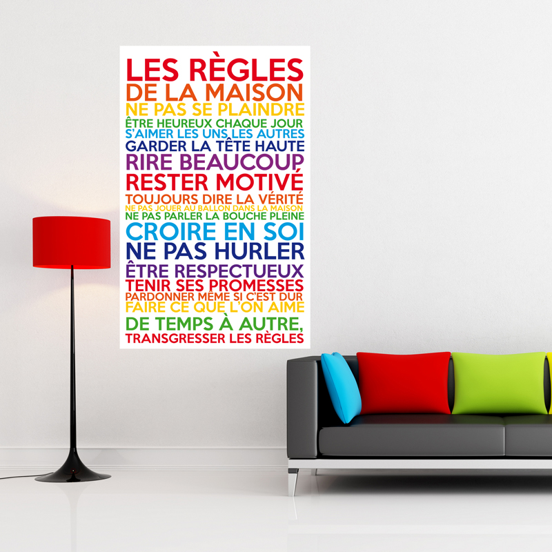 Sticker Poster Les Rgles De La Maison Multicolore  Stickers